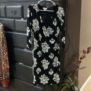 Charter Club black floral dress L